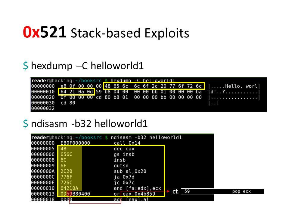 0x521 Stack-based Exploits $ ndisasm -b32 helloworld1 $ hexdump –C helloworld1 cf.