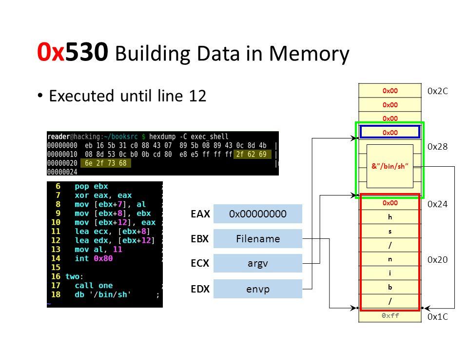 0x530 Building Data in Memory Executed until line 12 0x00 h s / n i b / 0xff 0x00000000EAX EBXFilename ECXargv EDXenvp 0x1C 0x20 0x24 0x28 0x2C & /bin/sh