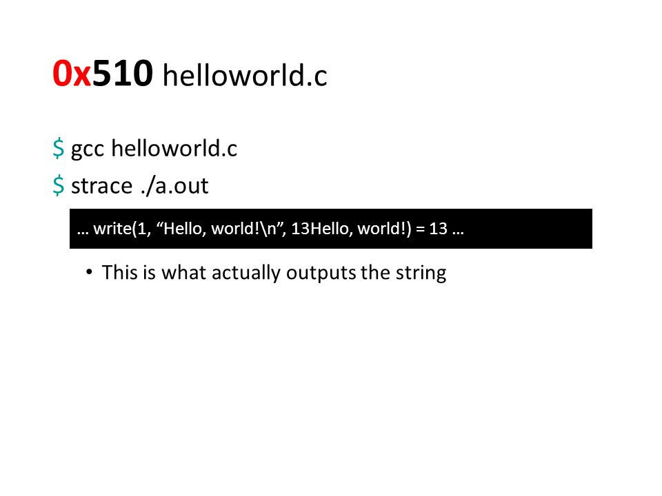 0x510 helloworld.c $ gcc helloworld.c $ strace./a.out … write(1, Hello, world!\n , 13Hello, world!) = 13 … This is what actually outputs the string