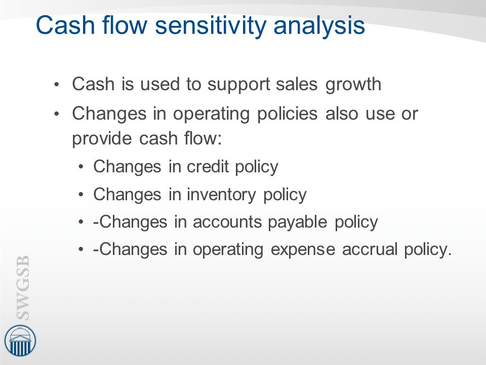 Cash flow sensitivity analysis Cash is used to support sales growth Changes in operating policies also use or provide cash flow: Changes in credit pol