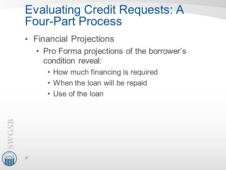 Evaluating Credit Requests: A Four-Part Process Financial Projections Pro Forma projections of the borrower's condition reveal: How much financing is