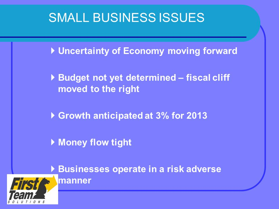 SMALL BUSINESS ISSUES  Uncertainty of Economy moving forward  Budget not yet determined – fiscal cliff moved to the right  Growth anticipated at 3% for 2013  Money flow tight  Businesses operate in a risk adverse manner