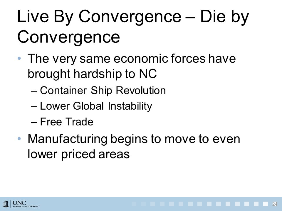 Live By Convergence – Die by Convergence The very same economic forces have brought hardship to NC –Container Ship Revolution –Lower Global Instabilit