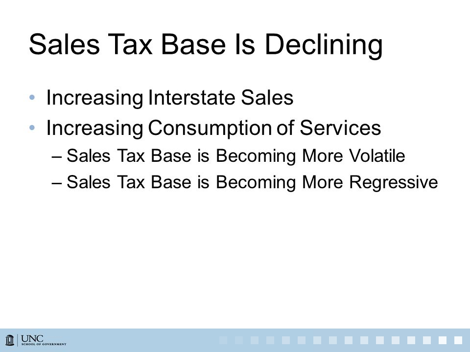 Sales Tax Base Is Declining Increasing Interstate Sales Increasing Consumption of Services –Sales Tax Base is Becoming More Volatile –Sales Tax Base i