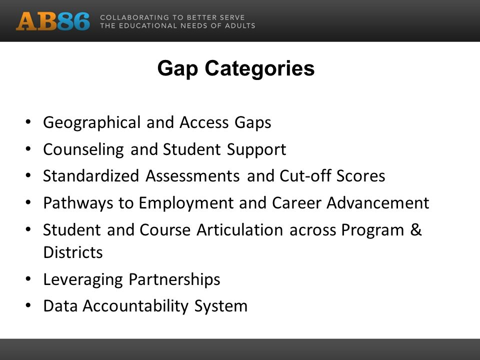 Gap Categories Geographical and Access Gaps Counseling and Student Support Standardized Assessments and Cut-off Scores Pathways to Employment and Career Advancement Student and Course Articulation across Program & Districts Leveraging Partnerships Data Accountability System