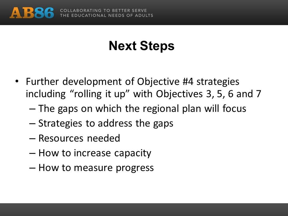 Next Steps Further development of Objective #4 strategies including rolling it up with Objectives 3, 5, 6 and 7 – The gaps on which the regional plan will focus – Strategies to address the gaps – Resources needed – How to increase capacity – How to measure progress