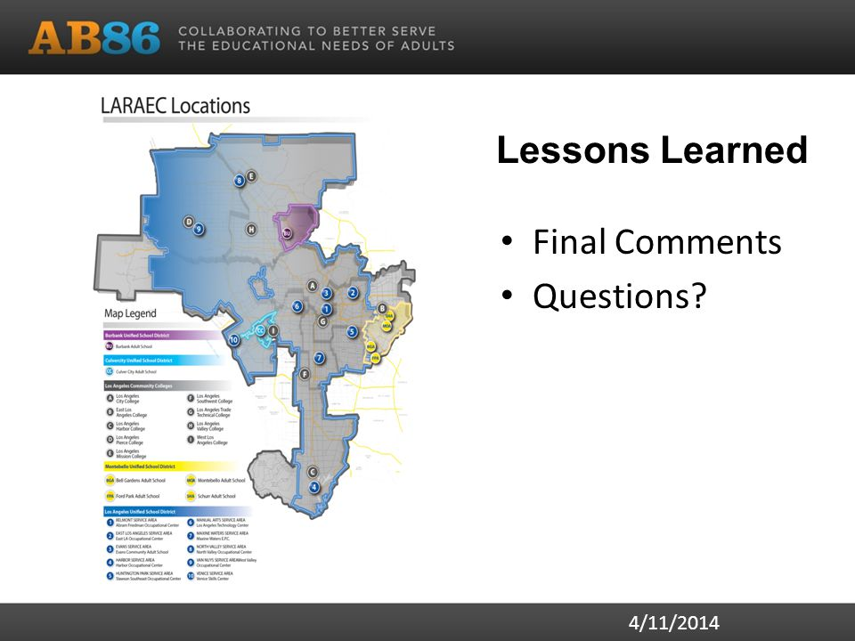 Lessons Learned Final Comments Questions? 4/11/2014