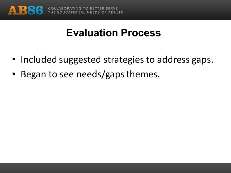 Evaluation Process Included suggested strategies to address gaps. Began to see needs/gaps themes.