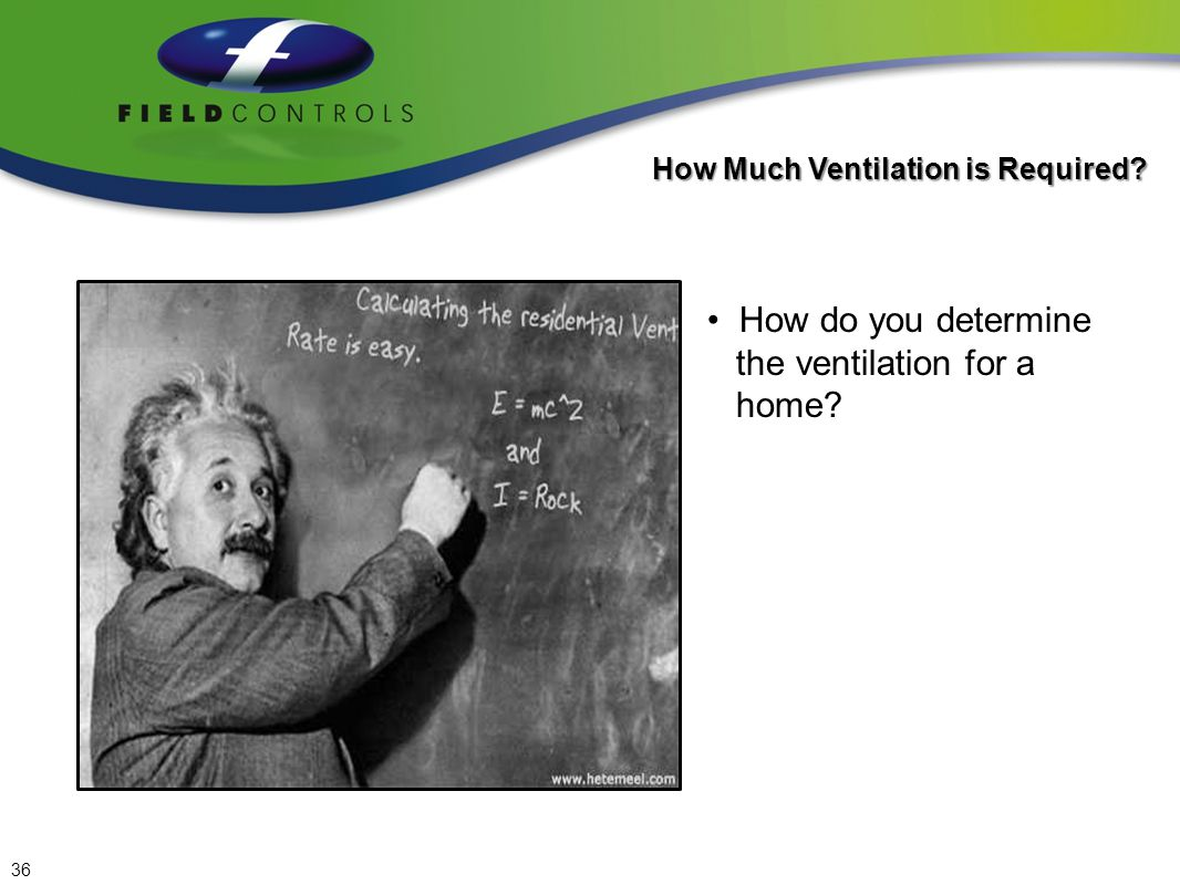 Air Change per Hour Method AC/H = (square footage x ceiling height) / 60) x 0.35 How Much Ventilation is Required.