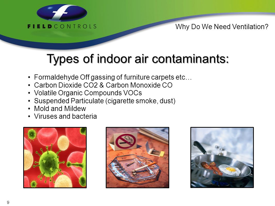 Ailments caused / exacerbated by indoor air pollutants: Allergies Respiratory problems / breathing disorders such as: asthma, emphysema, bronchial and others….