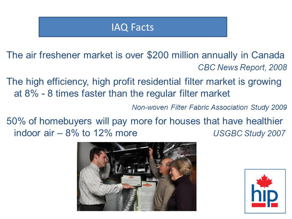 Facts: The air freshener market is over $200 million annually in Canada CBC News Report, 2008 The high efficiency, high profit residential filter market is growing at 8% - 8 times faster than the regular filter market Non-woven Filter Fabric Association Study 2009 50% of homebuyers will pay more for houses that have healthier indoor air – 8% to 12% more USGBC Study 2007 IAQ Facts