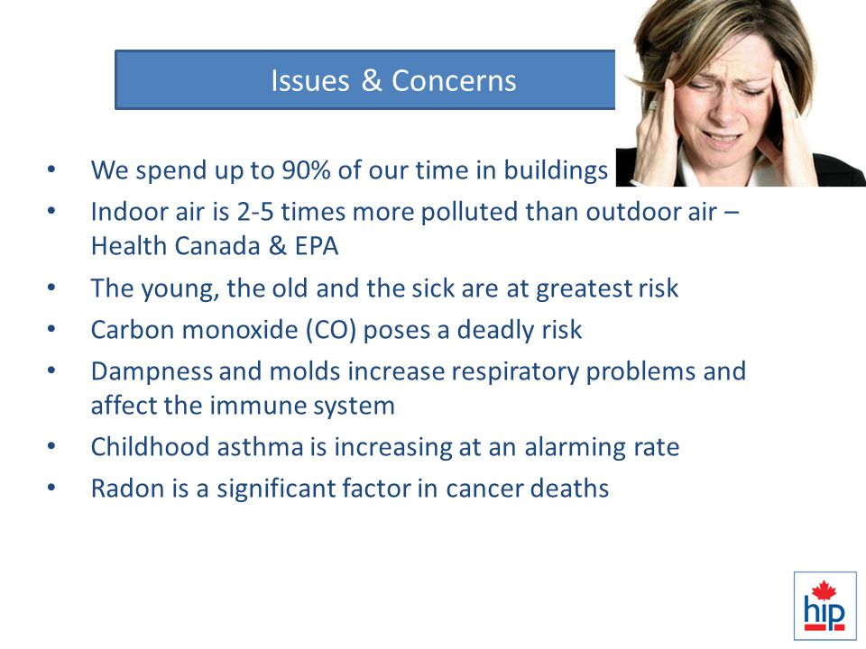 IAQ – What we know We spend up to 90% of our time in buildings Indoor air is 2-5 times more polluted than outdoor air – Health Canada & EPA The young, the old and the sick are at greatest risk Carbon monoxide (CO) poses a deadly risk Dampness and molds increase respiratory problems and affect the immune system Childhood asthma is increasing at an alarming rate Radon is a significant factor in cancer deaths Issues & Concerns