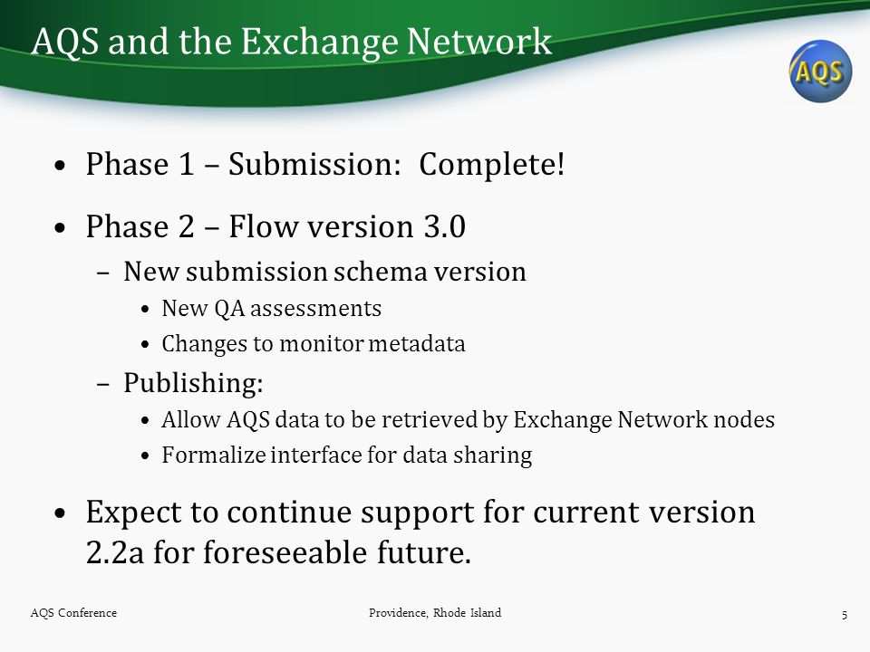 AQS and the Exchange Network Phase 1 – Submission: Complete.