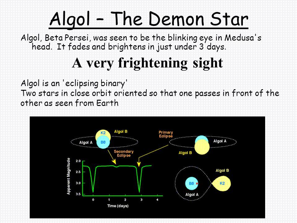 Algol – The Demon Star Algol, Beta Persei, was seen to be the blinking eye in Medusa s head.
