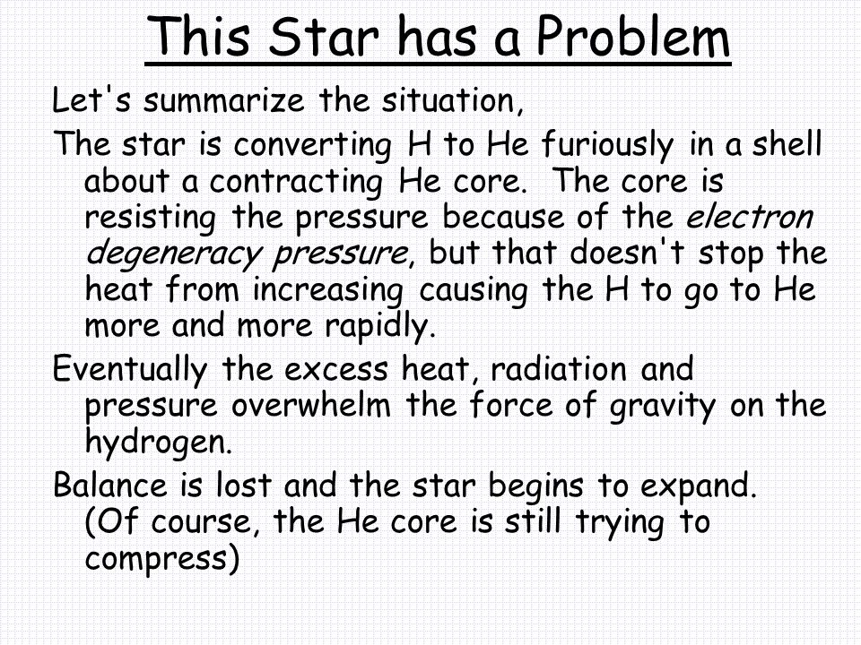 This Star has a Problem Let s summarize the situation, The star is converting H to He furiously in a shell about a contracting He core.