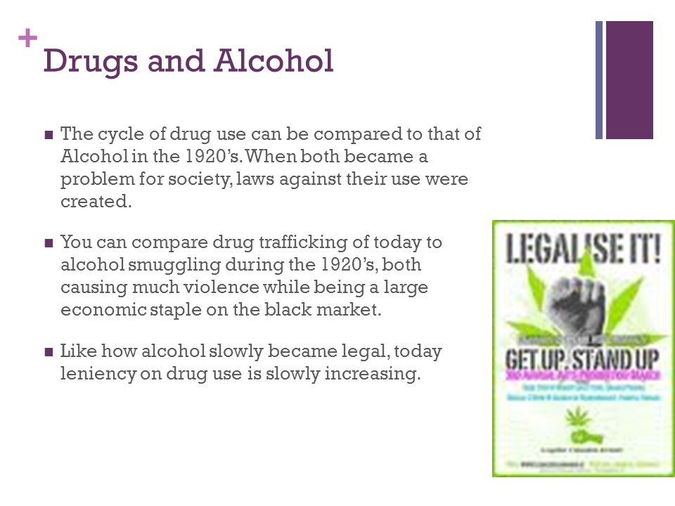 + Drugs and Alcohol The cycle of drug use can be compared to that of Alcohol in the 1920's.