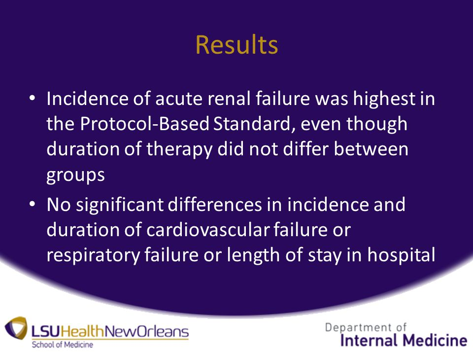 Incidence of acute renal failure was highest in the Protocol-Based Standard, even though duration of therapy did not differ between groups No significant differences in incidence and duration of cardiovascular failure or respiratory failure or length of stay in hospital