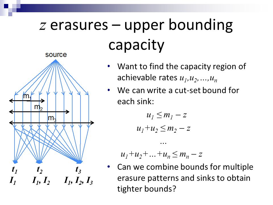 z erasures – upper bounding capacity Want to find the capacity region of achievable rates u 1,u 2,…,u n We can write a cut-set bound for each sink: u 1 ≤ m 1 ̶ z u 1 +u 2 ≤ m 2 ̶ z … u 1 +u 2 +…+u n ≤ m n ̶ z Can we combine bounds for multiple erasure patterns and sinks to obtain tighter bounds.