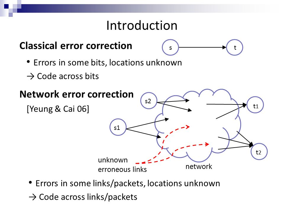 Introduction Network error correction [Yeung & Cai 06] s t Errors in some bits, locations unknown → Code across bits Errors in some links/packets, locations unknown → Code across links/packets s2 unknown erroneous links t1t1 t 2 network s1 Classical error correction