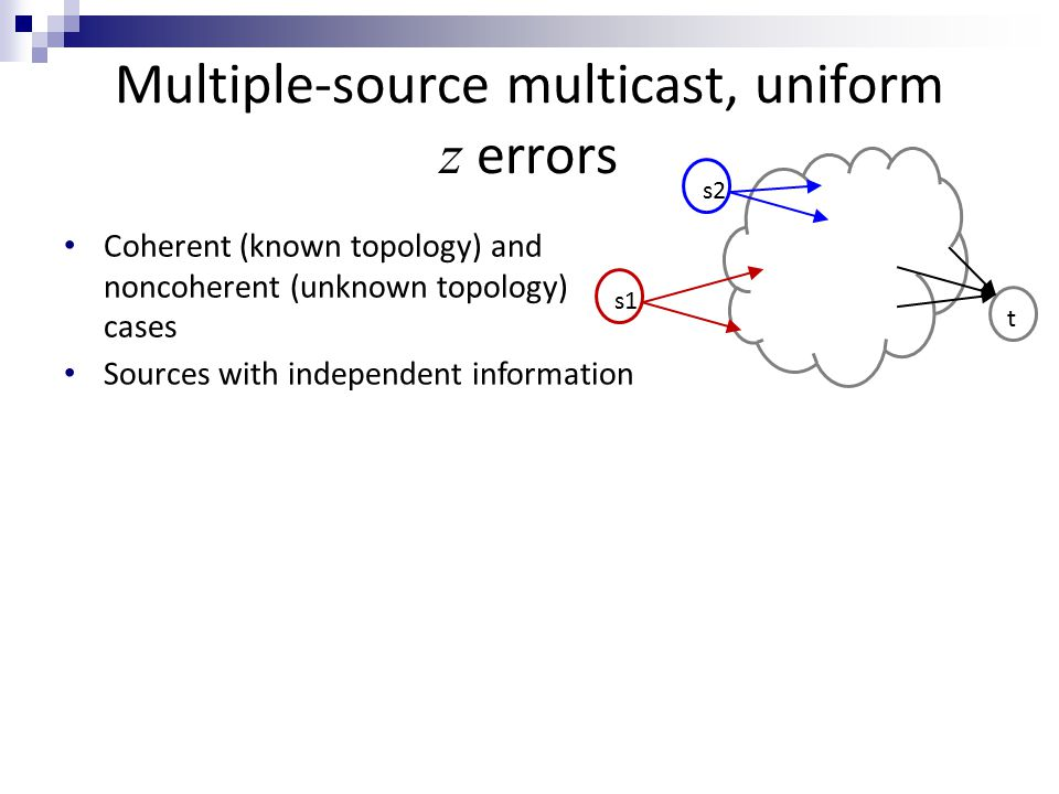 Multiple-source multicast, uniform z errors Coherent (known topology) and noncoherent (unknown topology) cases s2 t s1 Sources with independent information We could partition network capacity among different sources… But could rate be improved by coding across different sources.