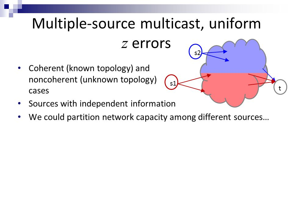 Multiple-source multicast, uniform z errors Sources with independent information We could partition network capacity among different sources… But could rate be improved by coding across different sources.