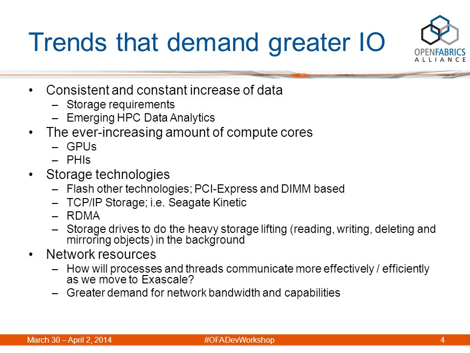 Trends that demand greater IO Consistent and constant increase of data –Storage requirements –Emerging HPC Data Analytics The ever-increasing amount o