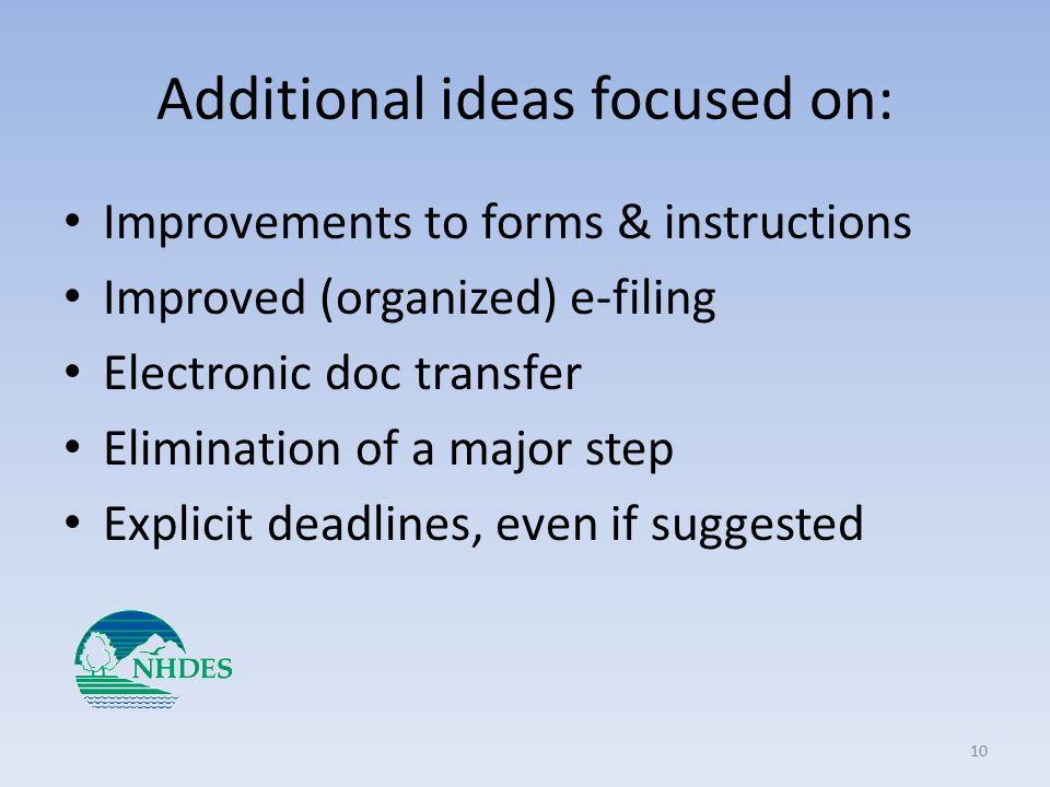 Additional ideas focused on: Improvements to forms & instructions Improved (organized) e-filing Electronic doc transfer Elimination of a major step Explicit deadlines, even if suggested 10