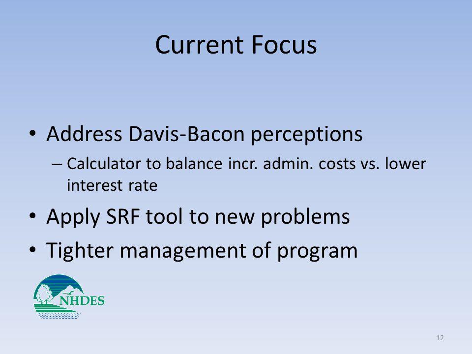 Current Focus Address Davis-Bacon perceptions – Calculator to balance incr.