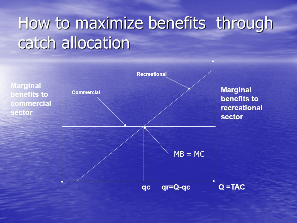 Marginal benefits to recreational sector Marginal benefits to commercial sector Commercial Recreational Q =TACqcqr=Q-qc How to maximize benefits through catch allocation MB = MC