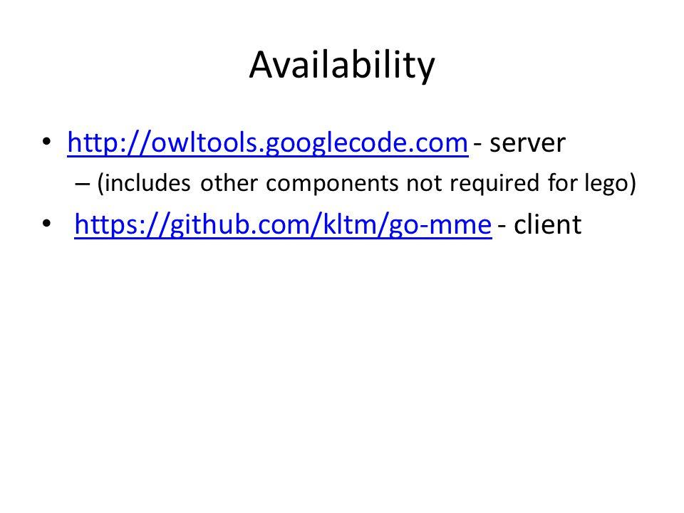 Availability http://owltools.googlecode.com - server http://owltools.googlecode.com – (includes other components not required for lego) https://github.com/kltm/go-mme - clienthttps://github.com/kltm/go-mme