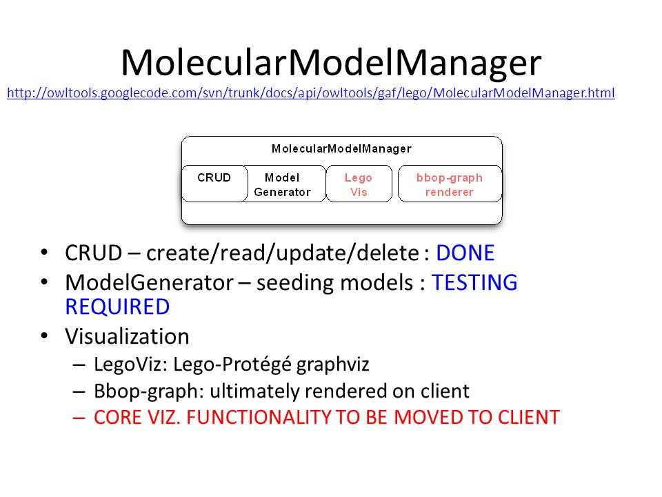 MolecularModelManager CRUD – create/read/update/delete : DONE ModelGenerator – seeding models : TESTING REQUIRED Visualization – LegoViz: Lego-Protégé graphviz – Bbop-graph: ultimately rendered on client – CORE VIZ.