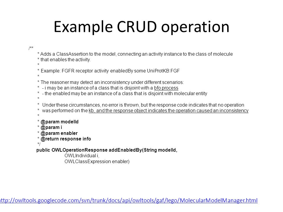 Example CRUD operation /** * Adds a ClassAssertion to the model, connecting an activity instance to the class of molecule * that enables the activity.