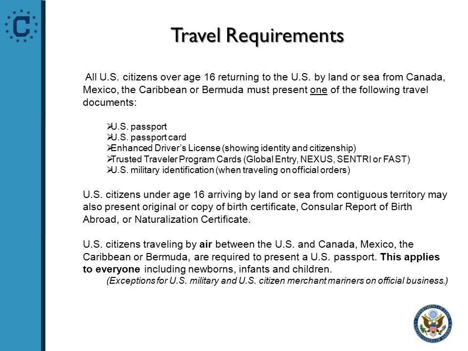 Travel Requirements All U.S. citizens over age 16 returning to the U.S.