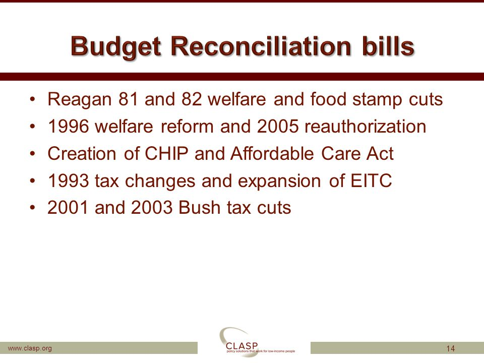 www.clasp.org Reagan 81 and 82 welfare and food stamp cuts 1996 welfare reform and 2005 reauthorization Creation of CHIP and Affordable Care Act 1993 tax changes and expansion of EITC 2001 and 2003 Bush tax cuts 14