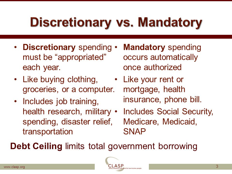 www.clasp.org Discretionary spending must be appropriated each year.