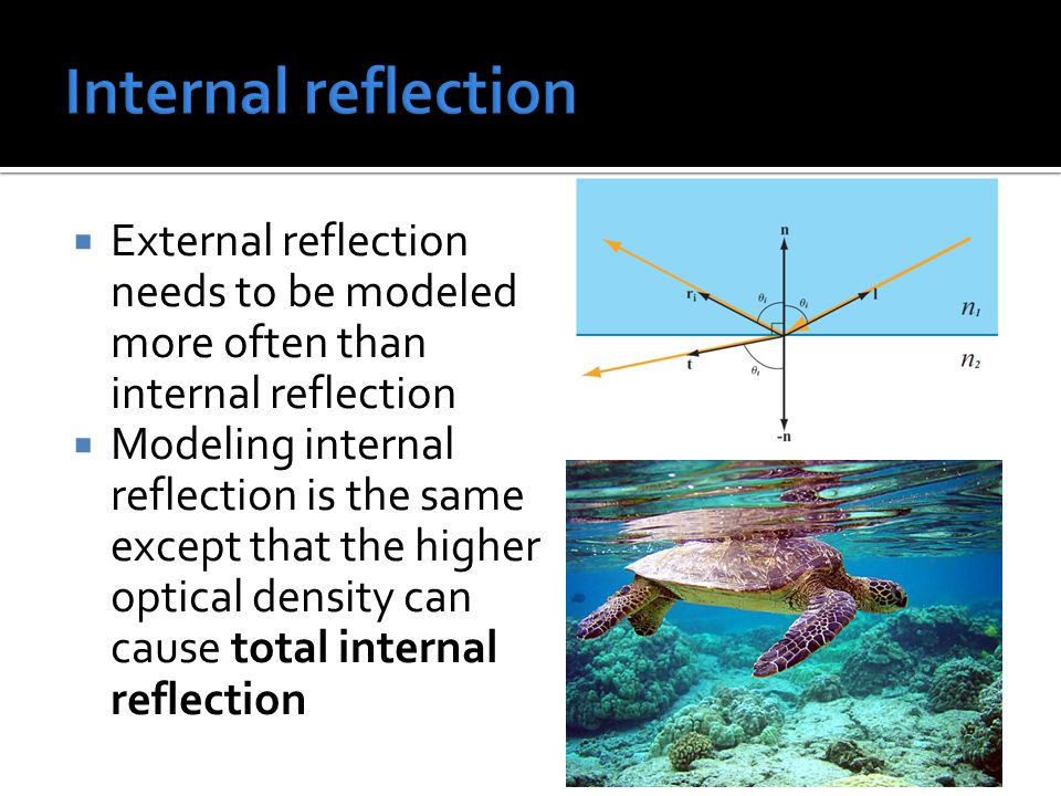  External reflection needs to be modeled more often than internal reflection  Modeling internal reflection is the same except that the higher optical density can cause total internal reflection