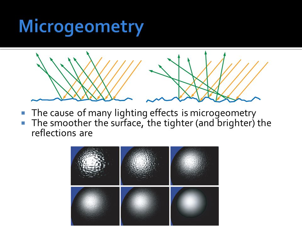  The cause of many lighting effects is microgeometry  The smoother the surface, the tighter (and brighter) the reflections are
