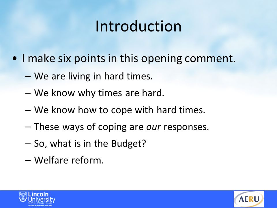 Welfare Reform I think the foundations of the Welfare Working Group's analysis were misconceived.