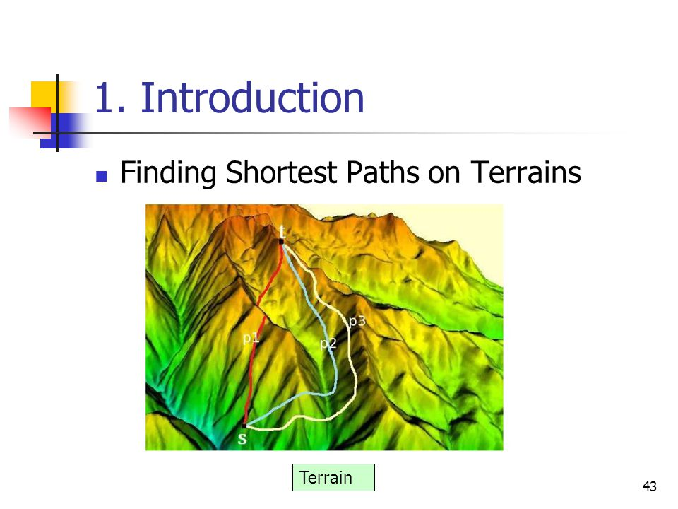 1. Introduction Finding Shortest Paths on Terrains 43 Terrain