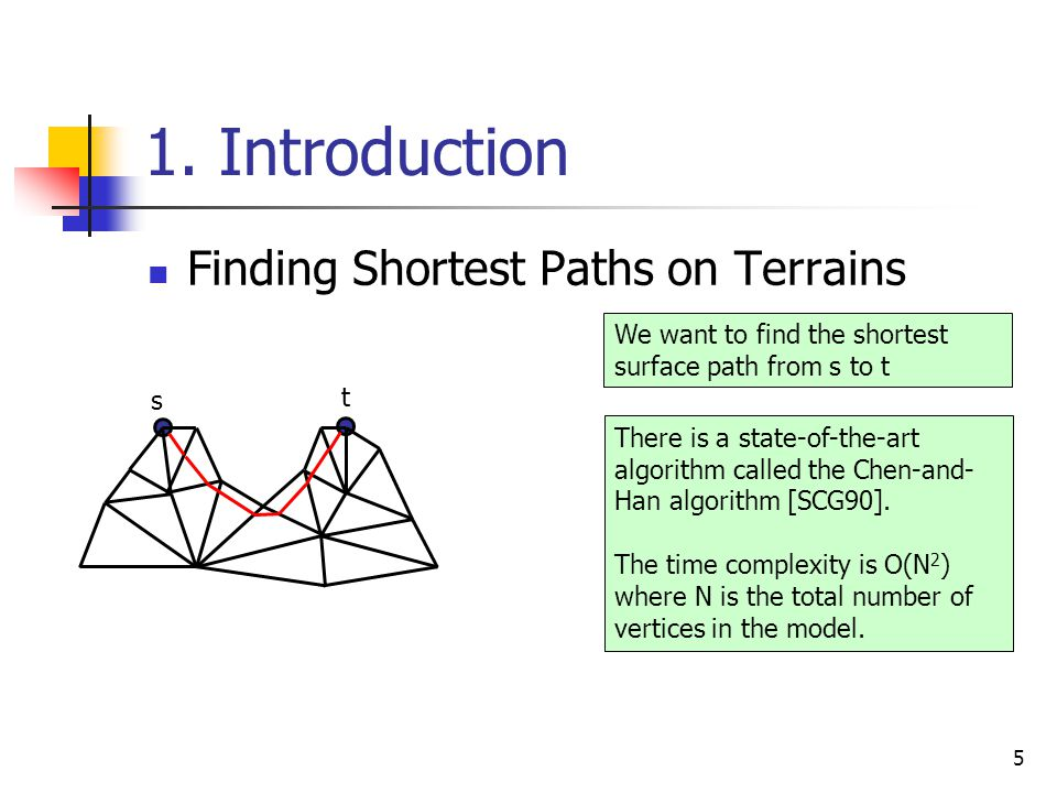 1. Introduction Finding Shortest Paths on Terrains 5 s t We want to find the shortest surface path from s to t There is a state-of-the-art algorithm c
