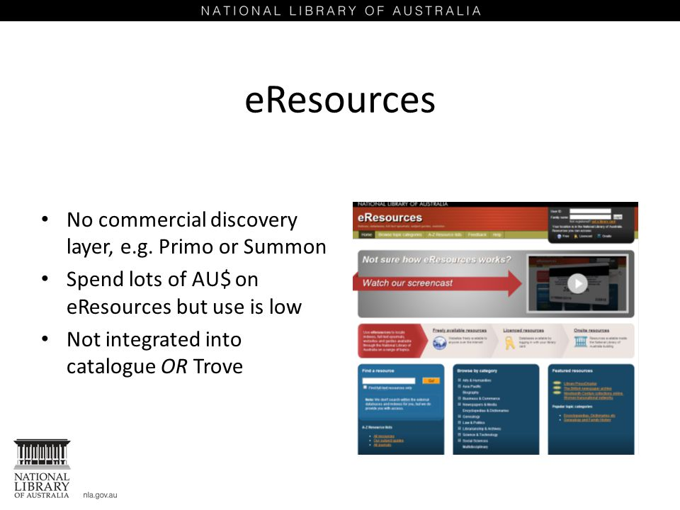 eResources No commercial discovery layer, e.g.