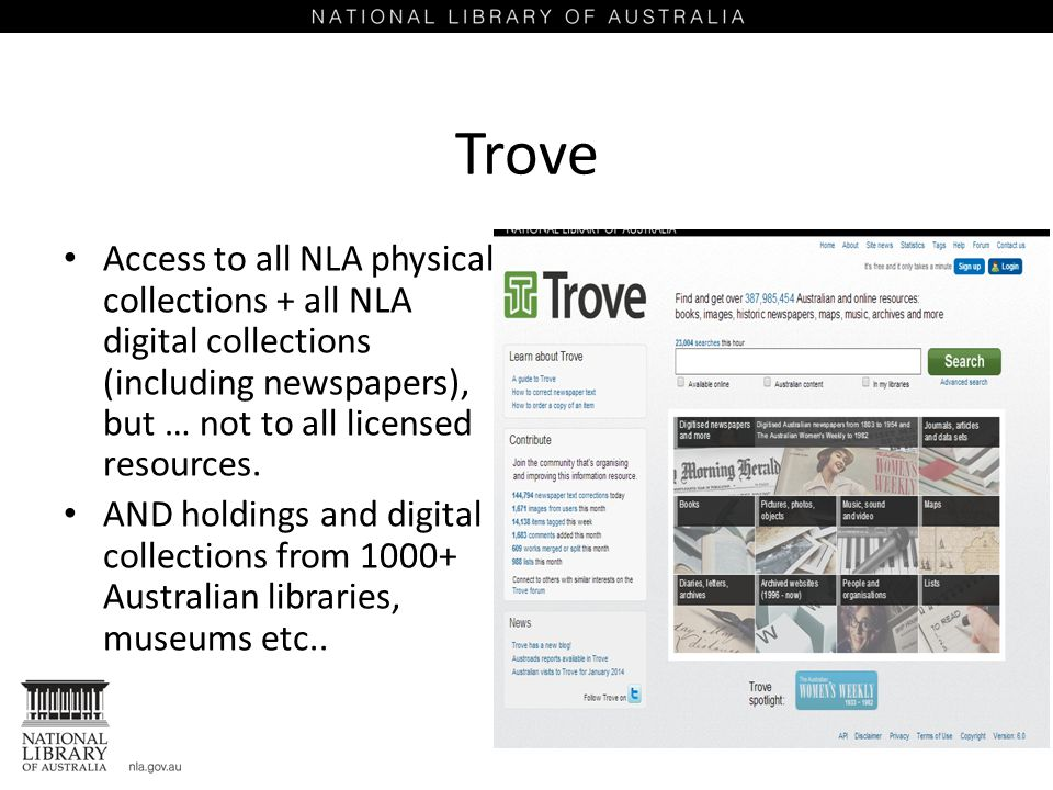 Trove Access to all NLA physical collections + all NLA digital collections (including newspapers), but … not to all licensed resources.