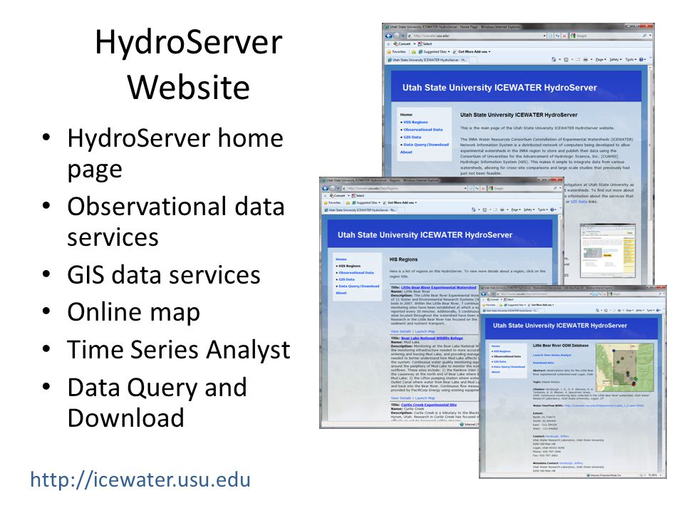 HydroServer Website HydroServer home page Observational data services GIS data services Online map Time Series Analyst Data Query and Download http://icewater.usu.edu