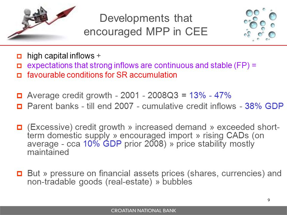 Developments that encouraged MPP in CEE  high capital inflows +  expectations that strong inflows are continuous and stable (FP) =  favourable conditions for SR accumulation  Average credit growth - 2001 - 2008Q3 = 13% - 47%  Parent banks - till end 2007 - cumulative credit inflows - 38% GDP  (Excessive) credit growth » increased demand » exceeded short- term domestic supply » encouraged import » rising CADs (on average - cca 10% GDP prior 2008) » price stability mostly maintained  But » pressure on financial assets prices (shares, currencies) and non-tradable goods (real-estate) » bubbles 9