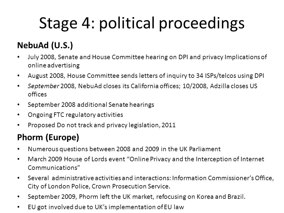 Stage 4: political proceedings NebuAd (U.S.) July 2008, Senate and House Committee hearing on DPI and privacy Implications of online advertising Augus