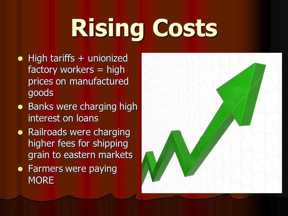 Rising Costs High tariffs + unionized factory workers = high prices on manufactured goods High tariffs + unionized factory workers = high prices on manufactured goods Banks were charging high interest on loans Banks were charging high interest on loans Railroads were charging higher fees for shipping grain to eastern markets Railroads were charging higher fees for shipping grain to eastern markets Farmers were paying MORE Farmers were paying MORE