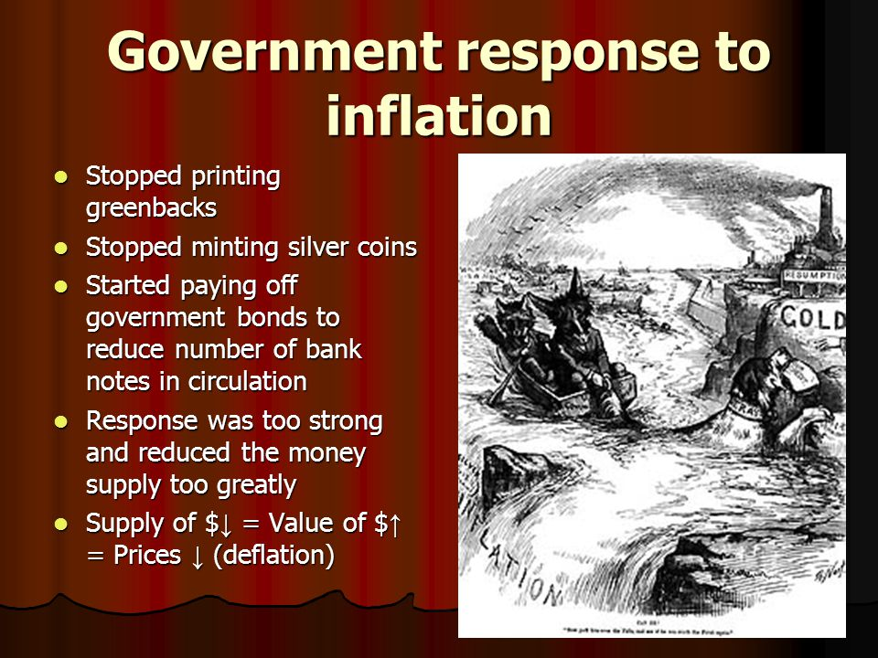 Government response to inflation Stopped printing greenbacks Stopped printing greenbacks Stopped minting silver coins Stopped minting silver coins Started paying off government bonds to reduce number of bank notes in circulation Started paying off government bonds to reduce number of bank notes in circulation Response was too strong and reduced the money supply too greatly Response was too strong and reduced the money supply too greatly Supply of $ ↓ = Value of $ ↑ = Prices ↓ (deflation) Supply of $ ↓ = Value of $ ↑ = Prices ↓ (deflation)