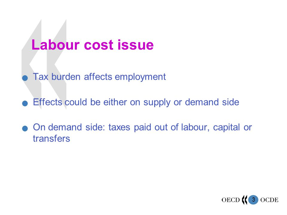 4 Reduction of burden on labour… by reducing overall tax burden by shifting the burden on capital by shifting the burden on transfers but effects will depend on adjustment of labour markets