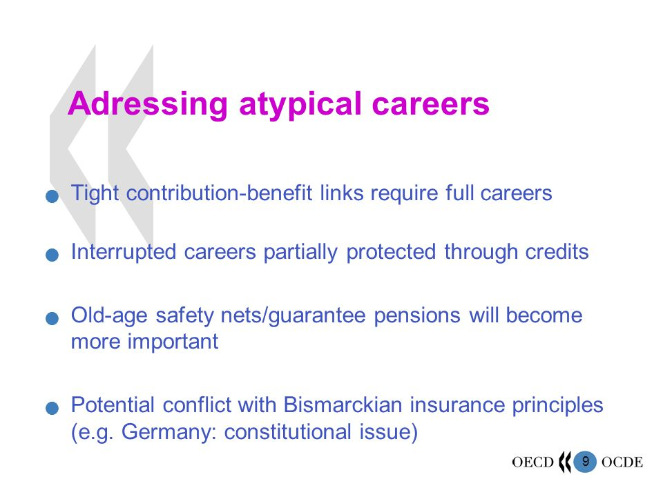 9 Adressing atypical careers Tight contribution-benefit links require full careers Interrupted careers partially protected through credits Old-age safety nets/guarantee pensions will become more important Potential conflict with Bismarckian insurance principles (e.g.