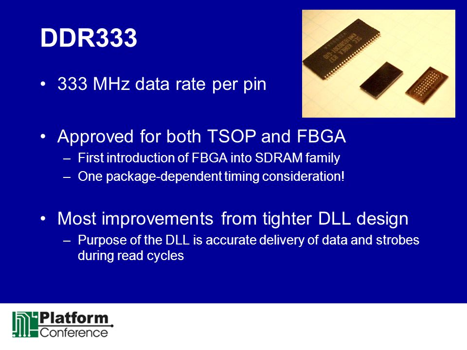 DDR333 333 MHz data rate per pin Approved for both TSOP and FBGA –First introduction of FBGA into SDRAM family –One package-dependent timing considera